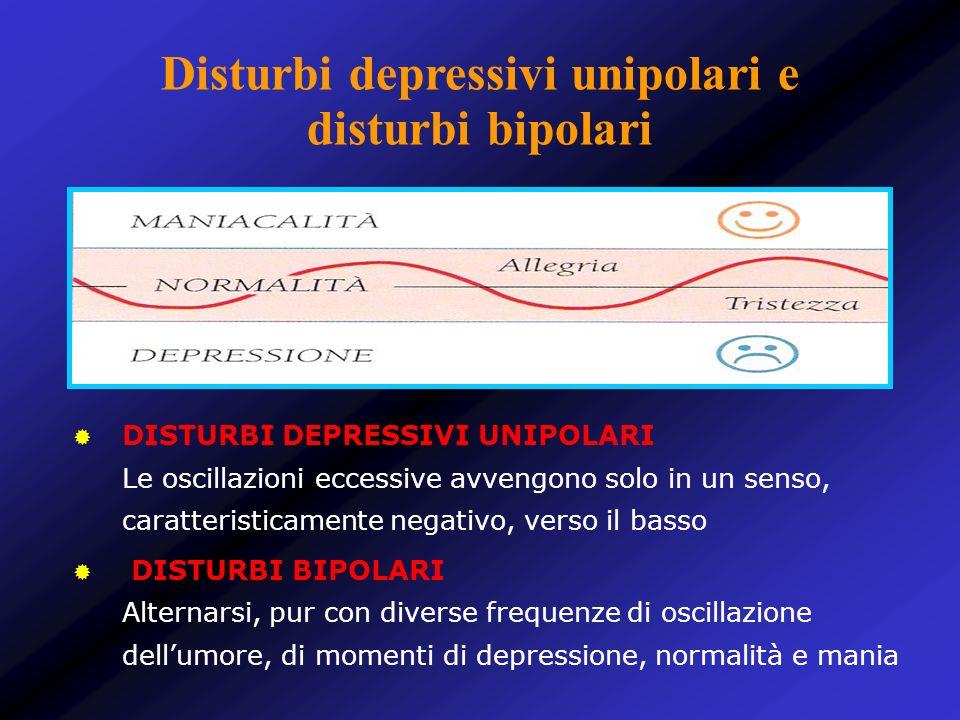 Disturbi depressivi unipolari e disturbi bipolari DISTURBI DEPRESSIVI UNIPOLARI Le oscillazioni eccessive avvengono solo in un senso, caratteristicame