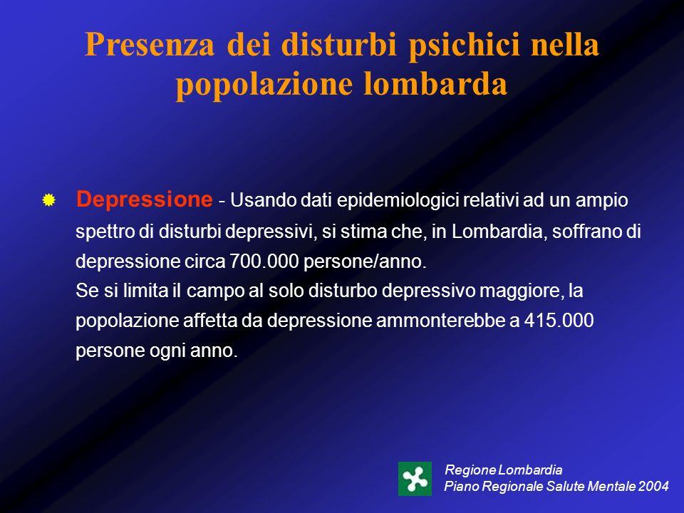 Presenza dei disturbi psichici nella popolazione lombarda Depressione - Usando dati epidemiologici relativi ad un ampio spettro di disturbi depressivi