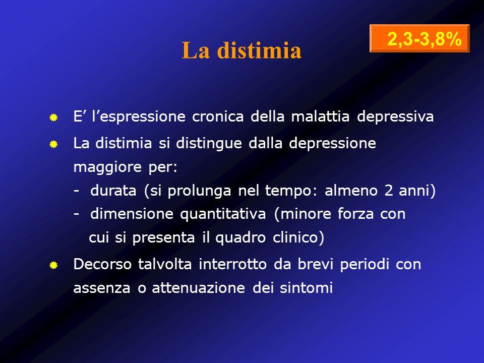 La distimia E lespressione cronica della malattia depressiva La distimia si distingue dalla depressione maggiore per: - durata (si prolunga nel tempo: