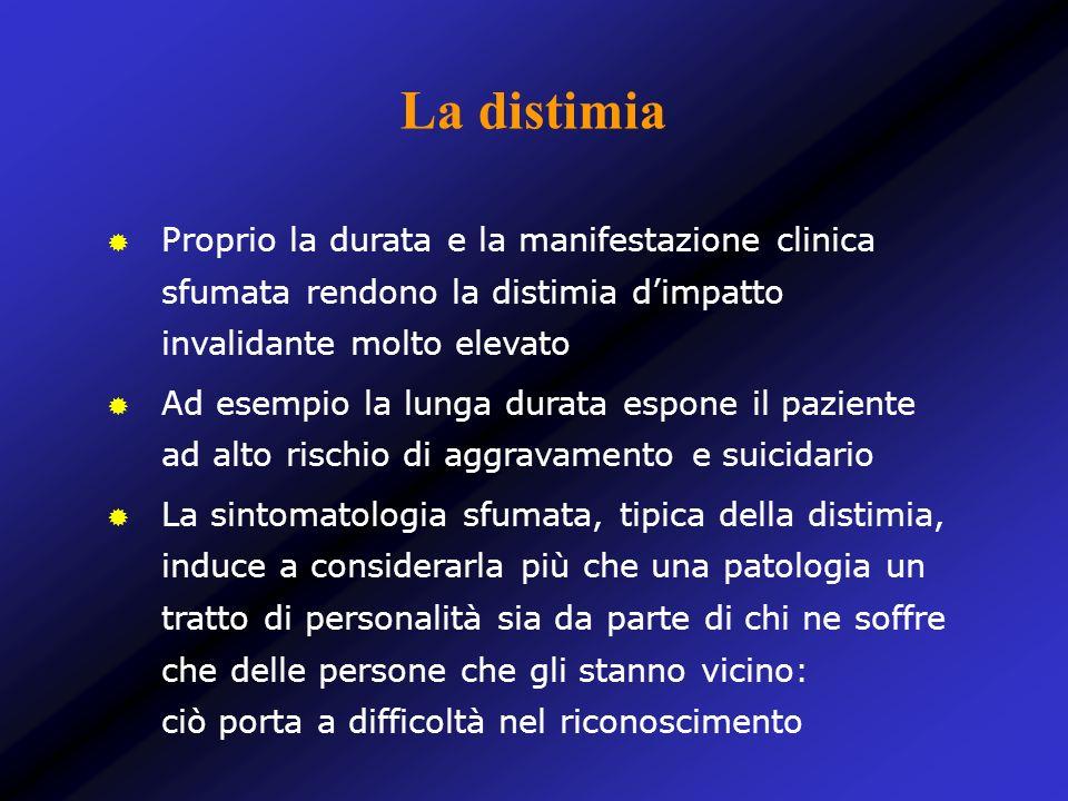 La distimia Proprio la durata e la manifestazione clinica sfumata rendono la distimia dimpatto invalidante molto elevato Ad esempio la lunga durata es