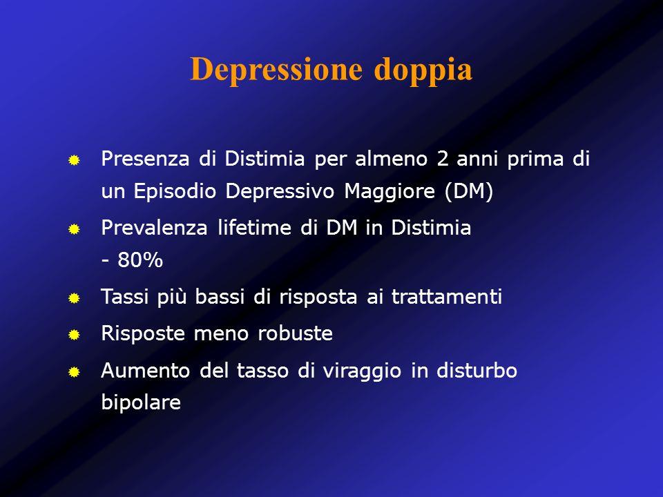 Depressione doppia Presenza di Distimia per almeno 2 anni prima di un Episodio Depressivo Maggiore (DM) Prevalenza lifetime di DM in Distimia - 80% Ta