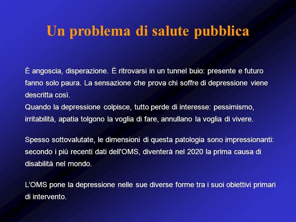 In Italia oltre 6.000.000 milioni di persone sono affette da depressione Colpisce donne e uomini, con un rapporto di 2 a 1: la ricerca attuale esplora i motivi biologici, del ciclo vitale, psicosociali di questa differenza di genere Nellarco della vita colpisce il 20-25% delle donne ed il 10 % degli uomini In testa le casalinghe (39.4), poi i pensionati (14.5%), gli impiegati (12.1%), gli operai (10.3%) ; seguono commercianti, insegnanti, agricoltori, professionisti e artigiani Una condizione diffusa di grave sofferenza