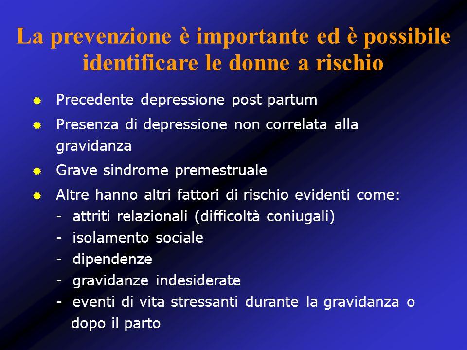 La prevenzione è importante ed è possibile identificare le donne a rischio Precedente depressione post partum Presenza di depressione non correlata al