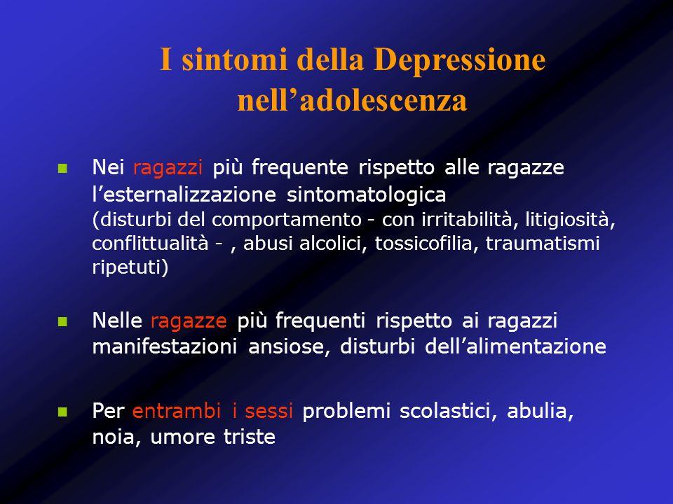 Nei ragazzi più frequente rispetto alle ragazze lesternalizzazione sintomatologica (disturbi del comportamento - con irritabilità, litigiosità, confli