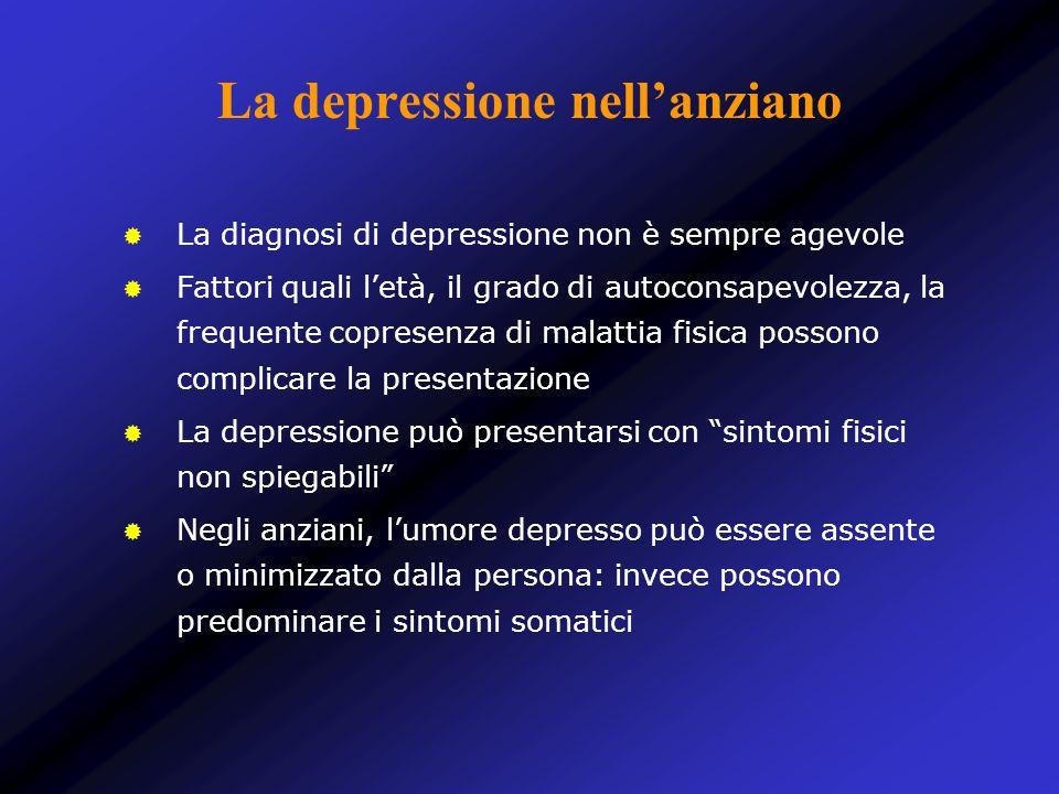 La diagnosi di depressione non è sempre agevole Fattori quali letà, il grado di autoconsapevolezza, la frequente copresenza di malattia fisica possono