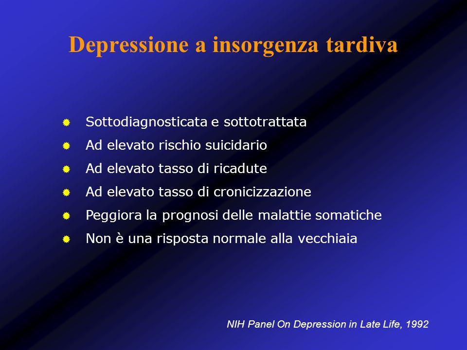 Depressione a insorgenza tardiva Sottodiagnosticata e sottotrattata Ad elevato rischio suicidario Ad elevato tasso di ricadute Ad elevato tasso di cro