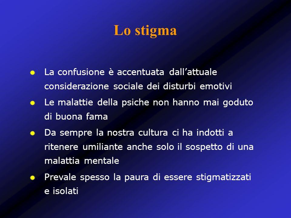Lo stigma La confusione è accentuata dallattuale considerazione sociale dei disturbi emotivi Le malattie della psiche non hanno mai goduto di buona fa