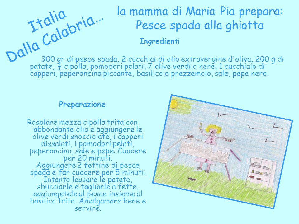 la mamma di Maria Pia prepara: Pesce spada alla ghiotta Italia Dalla Calabria… Preparazione Rosolare mezza cipolla trita con abbondante olio e aggiung
