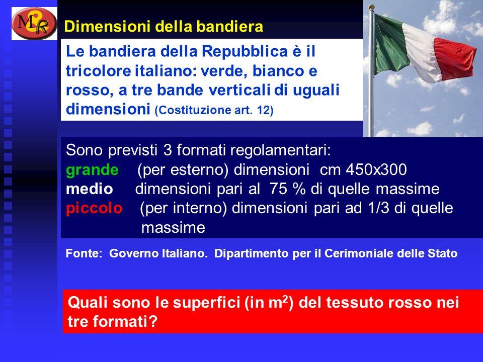 Dimensioni della bandiera Quali sono le superfici (in m 2 ) del tessuto rosso nei tre formati? Fonte: Governo Italiano. Dipartimento per il Cerimonial
