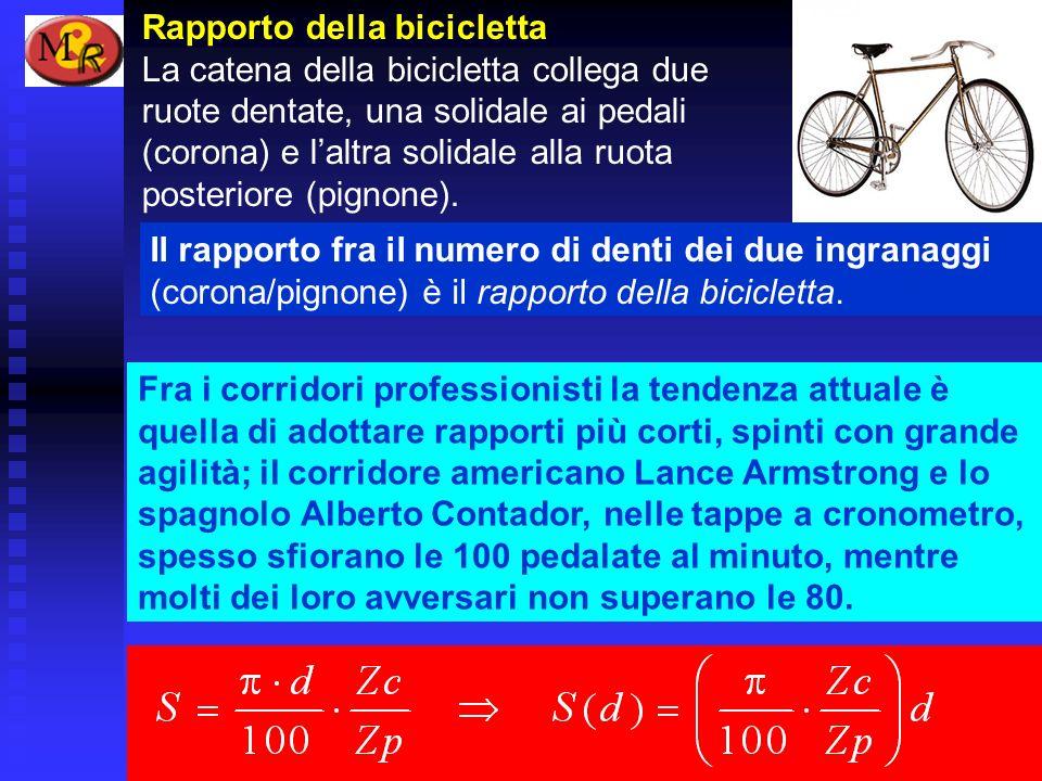 Rapporto della bicicletta La catena della bicicletta collega due ruote dentate, una solidale ai pedali (corona) e laltra solidale alla ruota posterior