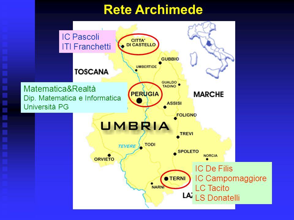 Rete Archimede IC De Filis IC Campomaggiore LC Tacito LS Donatelli Matematica&Realtà Dip. Matematica e Informatica Università PG IC Pascoli ITI Franch