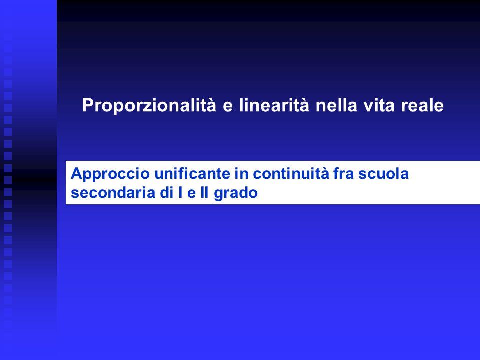 Proporzionalità e linearità nella vita reale Approccio unificante in continuità fra scuola secondaria di I e II grado