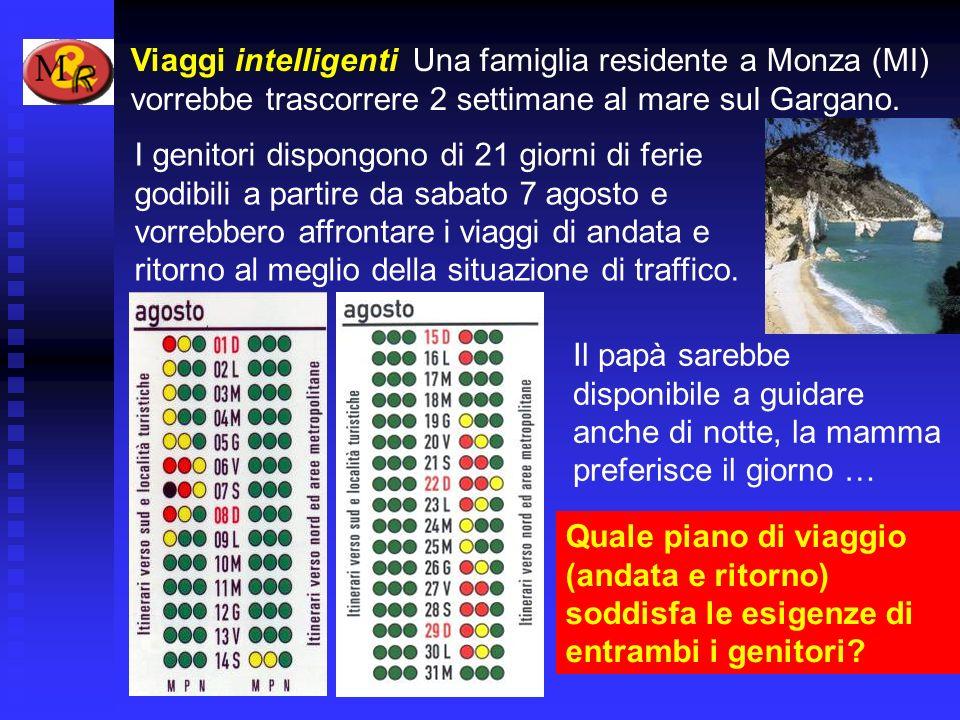 Viaggi intelligenti Una famiglia residente a Monza (MI) vorrebbe trascorrere 2 settimane al mare sul Gargano. I genitori dispongono di 21 giorni di fe