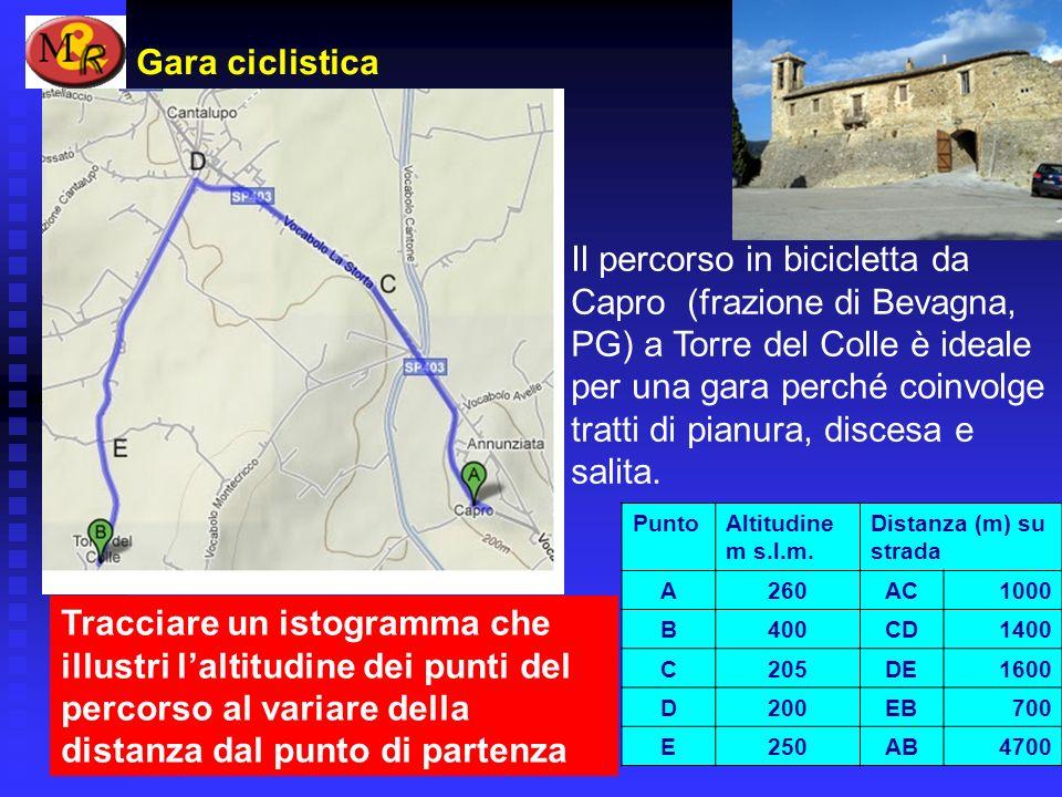 Gara ciclistica Il percorso in bicicletta da Capro (frazione di Bevagna, PG) a Torre del Colle è ideale per una gara perché coinvolge tratti di pianur