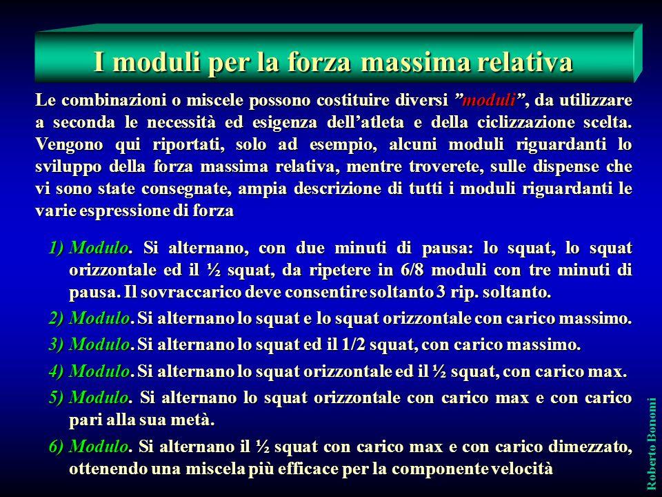 Roberto Bonomi Le combinazioni o miscele possono costituire diversi moduli, da utilizzare a seconda le necessità ed esigenza dellatleta e della cicliz