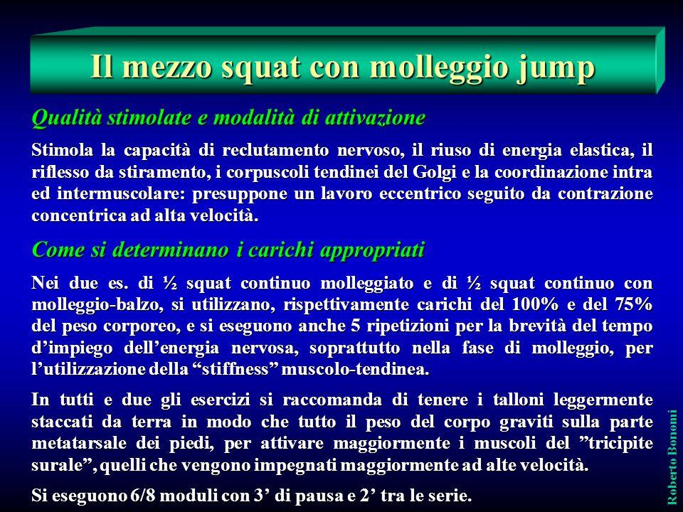 Qualità stimolate e modalità di attivazione Stimola la capacità di reclutamento nervoso, il riuso di energia elastica, il riflesso da stiramento, i co