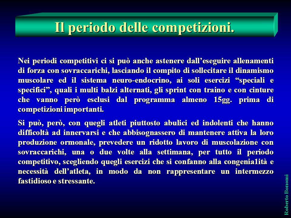 Il periodo delle competizioni. Roberto Bonomi Nei periodi competitivi ci si può anche astenere dalleseguire allenamenti di forza con sovraccarichi, la