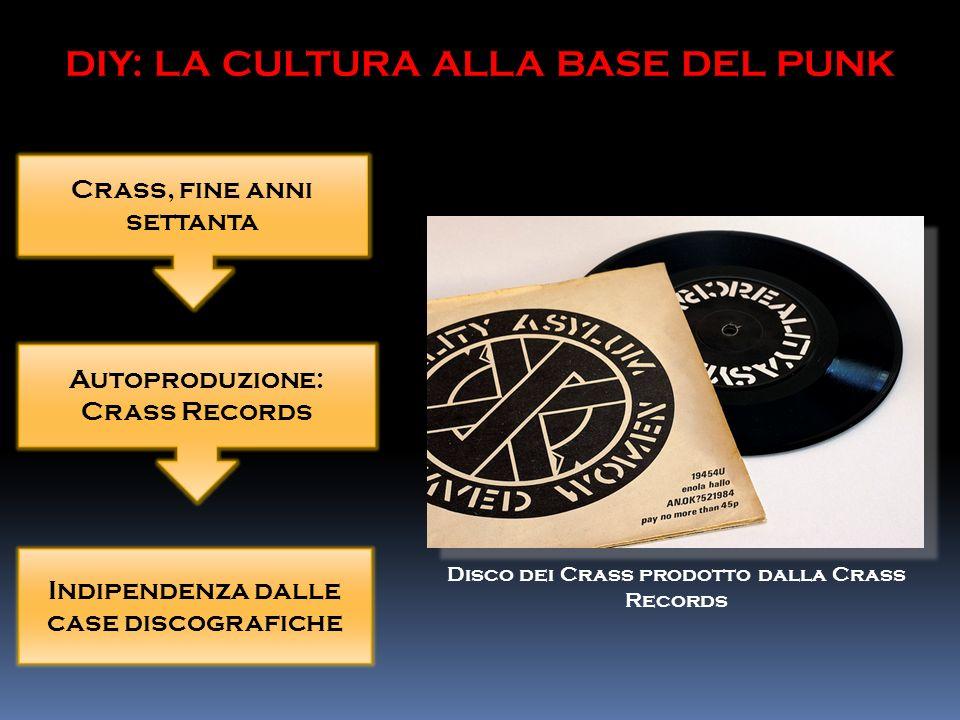 Crass, fine anni settanta Autoproduzione: Crass Records Indipendenza dalle case discografiche DIY: LA CULTURA ALLA BASE DEL PUNK Disco dei Crass prodotto dalla Crass Records