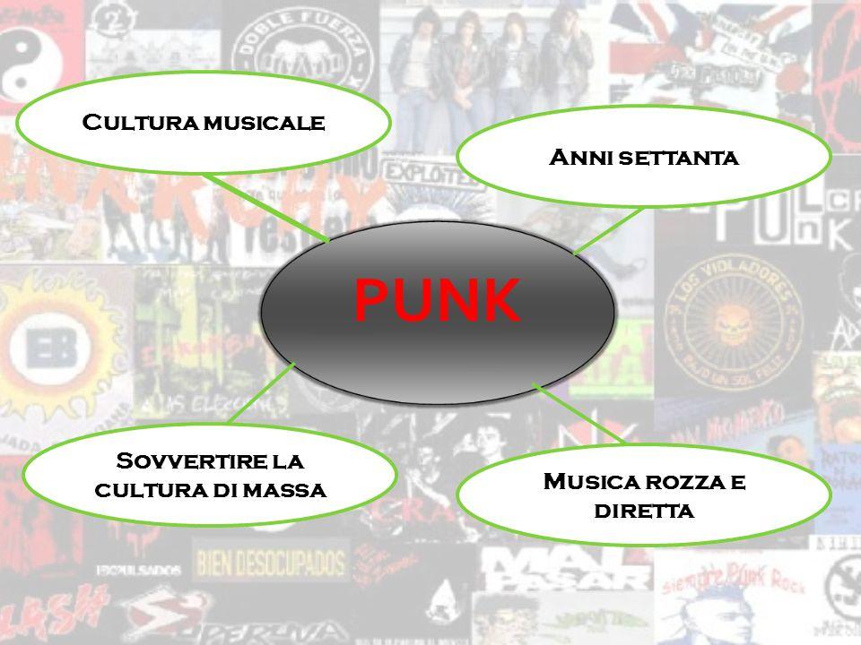 PUNK Cultura musicale Anni settanta Musica rozza e diretta Sovvertire la cultura di massa