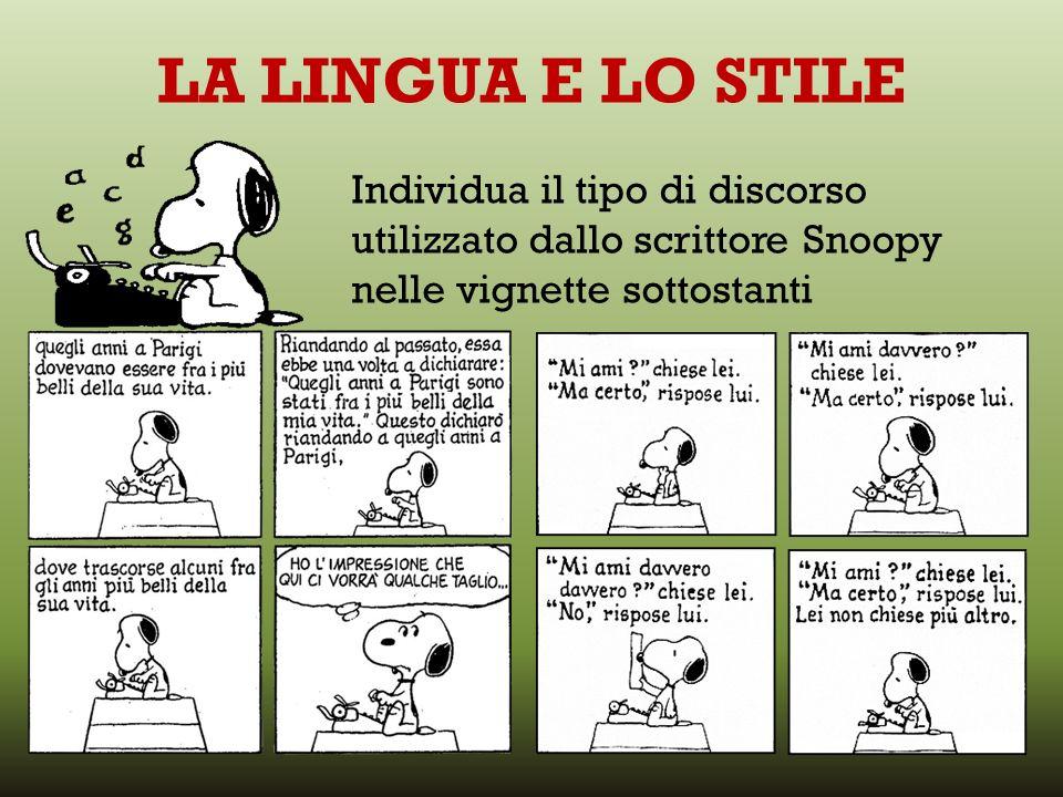 LA LINGUA E LO STILE Individua il tipo di discorso utilizzato dallo scrittore Snoopy nelle vignette sottostanti