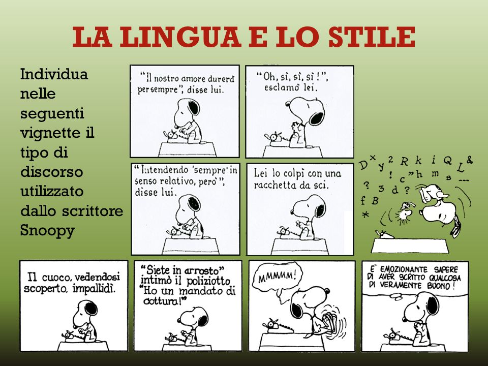 LA LINGUA E LO STILE Individua nelle seguenti vignette il tipo di discorso utilizzato dallo scrittore Snoopy