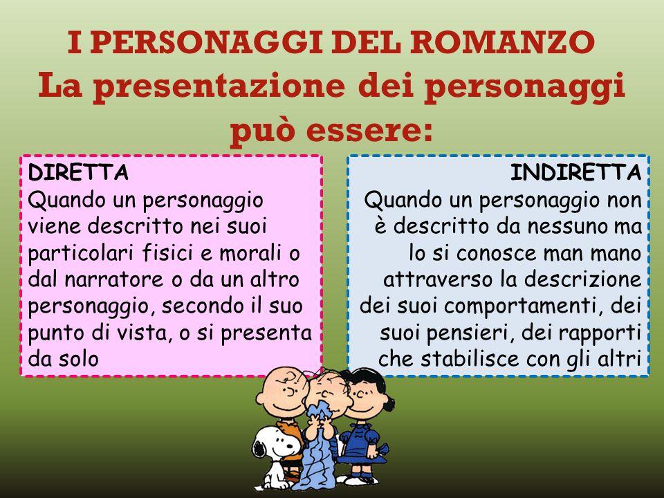 I PERSONAGGI DEL ROMANZO La presentazione dei personaggi può essere: DIRETTA Quando un personaggio viene descritto nei suoi particolari fisici e moral