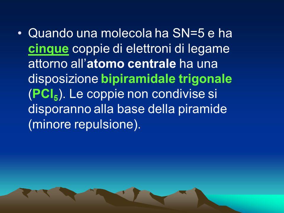 Quando una molecola ha SN=5 e ha cinque coppie di elettroni di legame attorno allatomo centrale ha una disposizione bipiramidale trigonale (PCl 5 ). L
