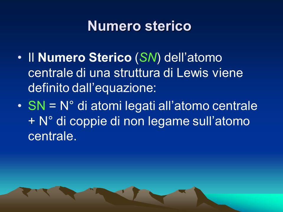 Il Numero Sterico (SN) dellatomo centrale di una struttura di Lewis viene definito dallequazione: SN = N° di atomi legati allatomo centrale + N° di co