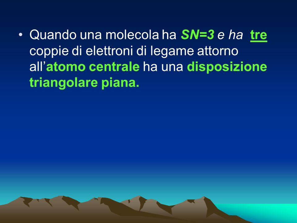 Quando una molecola ha SN=3 e ha tre coppie di elettroni di legame attorno allatomo centrale ha una disposizione triangolare piana.