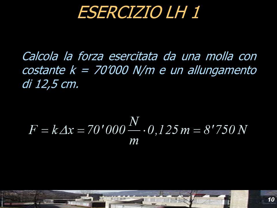 Calcola la forza esercitata da una molla con costante k = 70000 N/m e un allungamento di 12,5 cm. ESERCIZIO LH 1 10