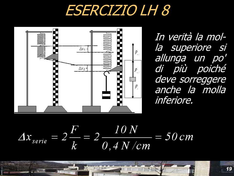 19 ESERCIZIO LH 8 In verità la mol- la superiore si allunga un po' di più poiché deve sorreggere anche la molla inferiore.