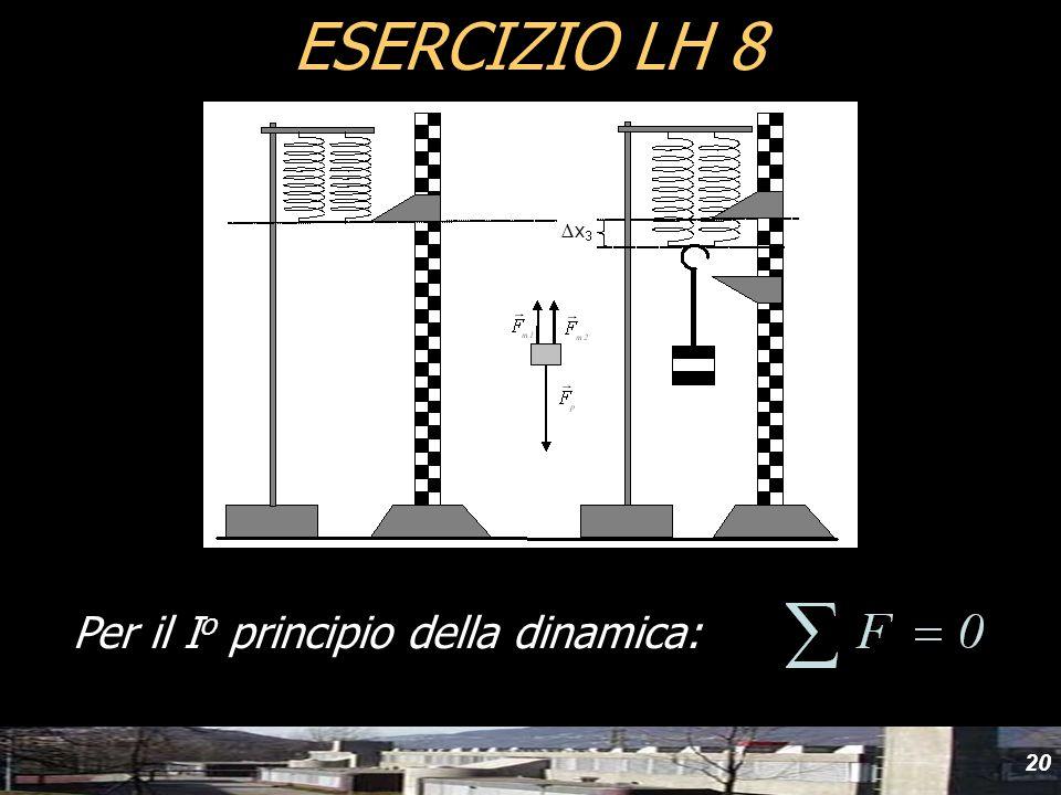 20 ESERCIZIO LH 8 Per il I o principio della dinamica: