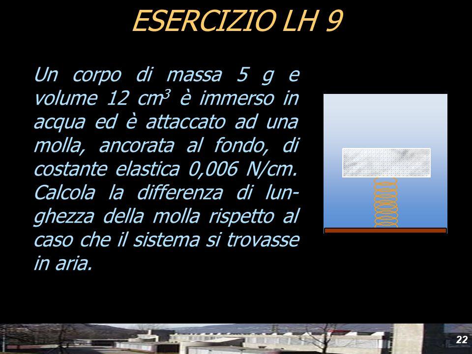 22 Un corpo di massa 5 g e volume 12 cm 3 è immerso in acqua ed è attaccato ad una molla, ancorata al fondo, di costante elastica 0,006 N/cm. Calcola