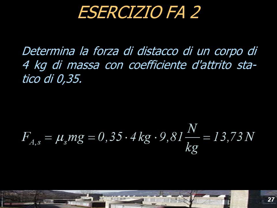 27 Determina la forza di distacco di un corpo di 4 kg di massa con coefficiente d'attrito sta- tico di 0,35. ESERCIZIO FA 2
