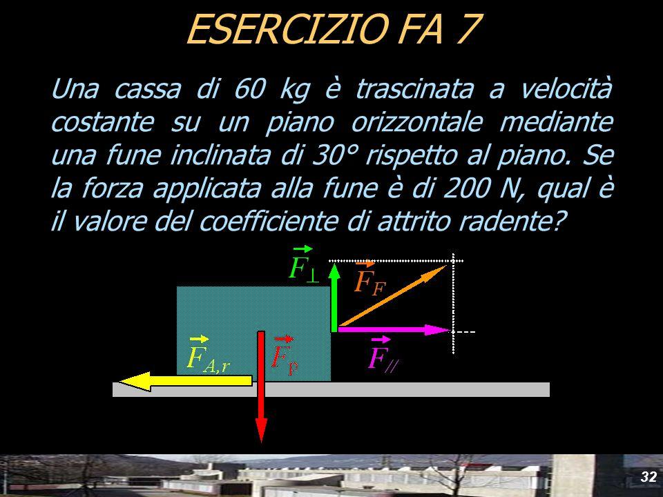 32 Una cassa di 60 kg è trascinata a velocità costante su un piano orizzontale mediante una fune inclinata di 30° rispetto al piano. Se la forza appli