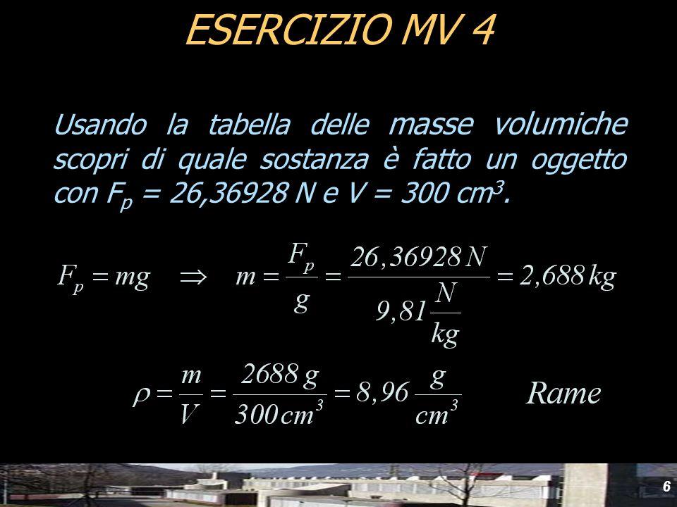 6 ESERCIZIO MV 4 Usando la tabella delle masse volumiche scopri di quale sostanza è fatto un oggetto con F p = 26,36928 N e V = 300 cm 3.