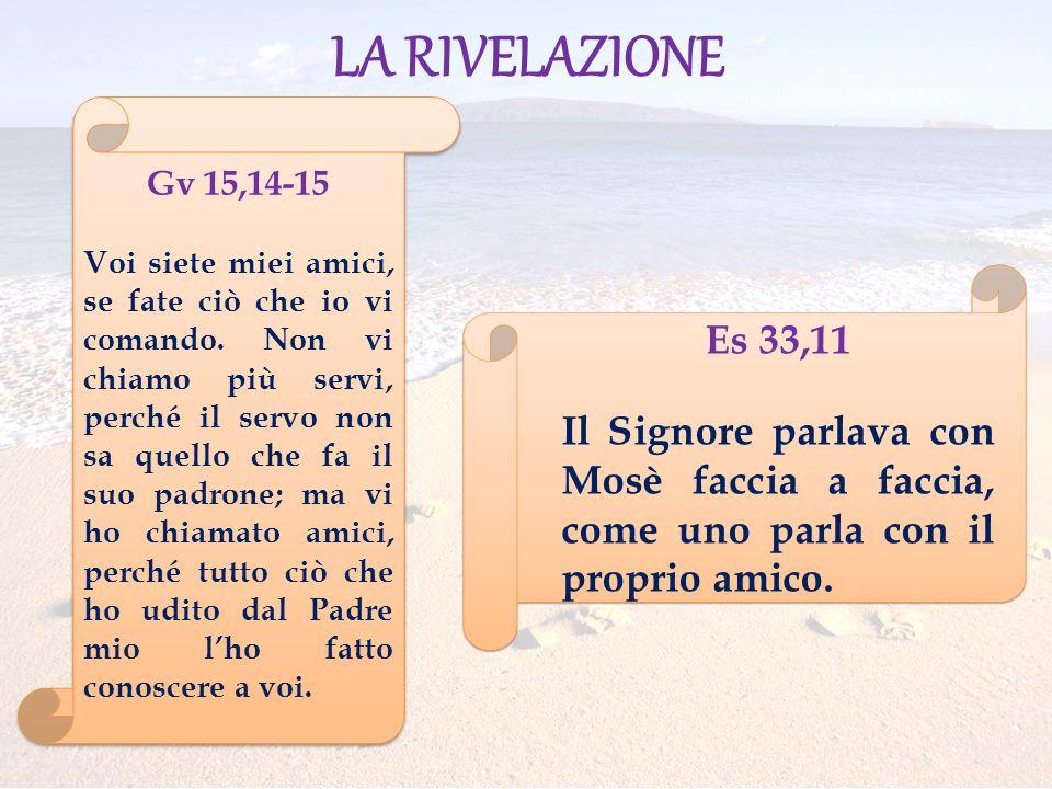 LA RIVELAZIONE Es 33,11 Il Signore parlava con Mosè faccia a faccia, come uno parla con il proprio amico. Gv 15,14-15 Voi siete miei amici, se fate ci