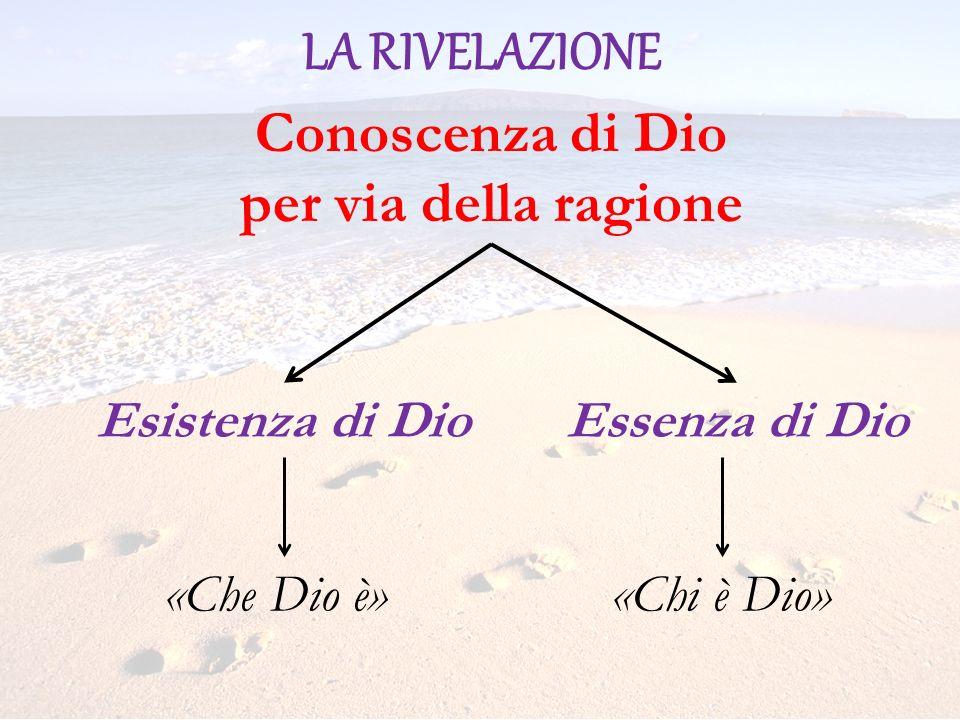 LA RIVELAZIONE Conoscenza di Dio per via della ragione Esistenza di DioEssenza di Dio «Che Dio 軫Chi è Dio»