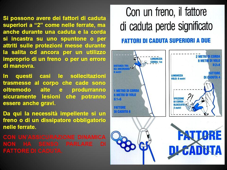 Si possono avere dei fattori di caduta superiori a 2 come nelle ferrate, ma anche durante una caduta e la corda si incastra su uno spuntone o per attr