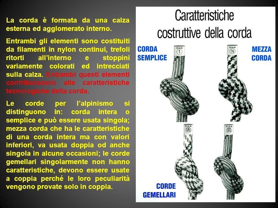 La corda è formata da una calza esterna ed agglomerato interno. Entrambi gli elementi sono costituiti da filamenti in nylon continui, trefoli ritorti