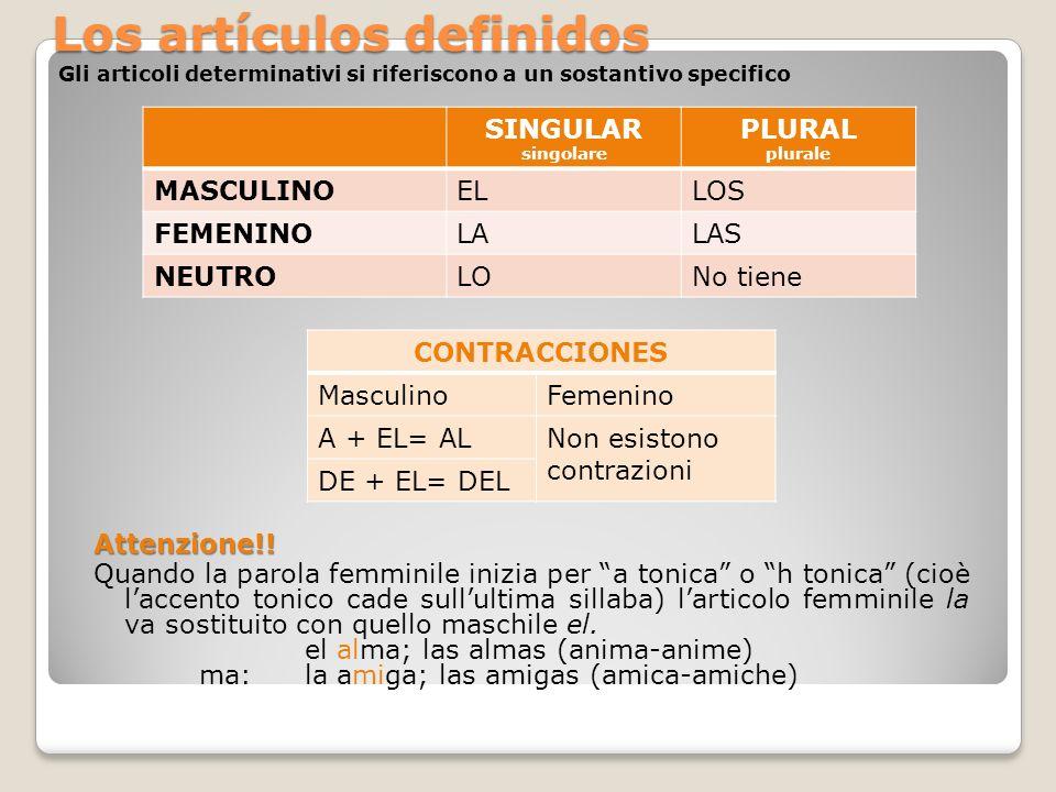 Los artículos definidos Los artículos definidos Gli articoli determinativi si riferiscono a un sostantivo specifico SINGULAR singolare PLURAL plurale