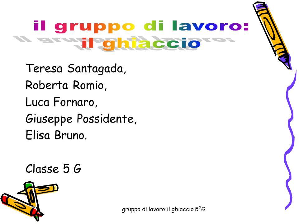 gruppo di lavoro:il ghiaccio 5°G Teresa Santagada, Roberta Romio, Luca Fornaro, Giuseppe Possidente, Elisa Bruno.