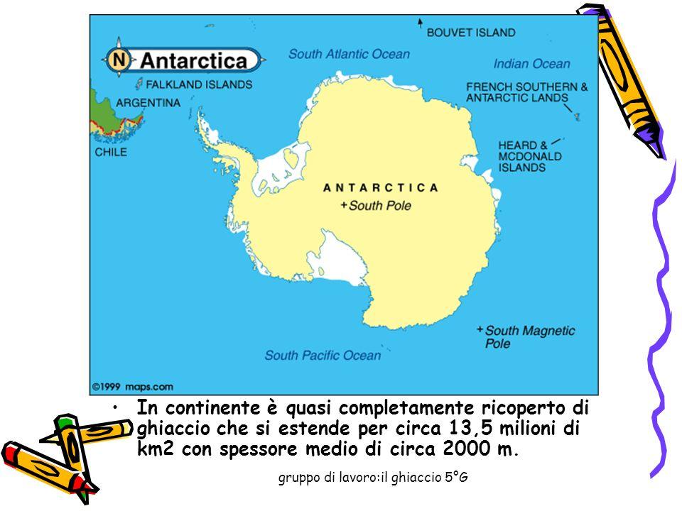 gruppo di lavoro:il ghiaccio 5°G In continente è quasi completamente ricoperto di ghiaccio che si estende per circa 13,5 milioni di km2 con spessore medio di circa 2000 m.