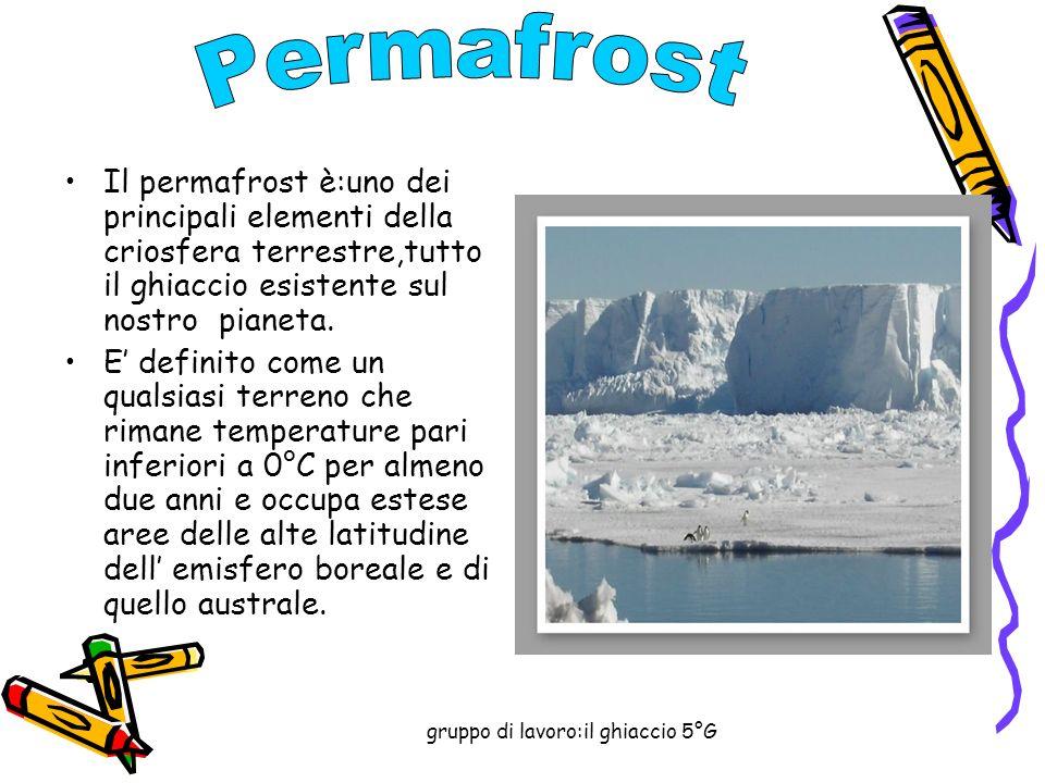 gruppo di lavoro:il ghiaccio 5°G Il permafrost è:uno dei principali elementi della criosfera terrestre,tutto il ghiaccio esistente sul nostro pianeta.