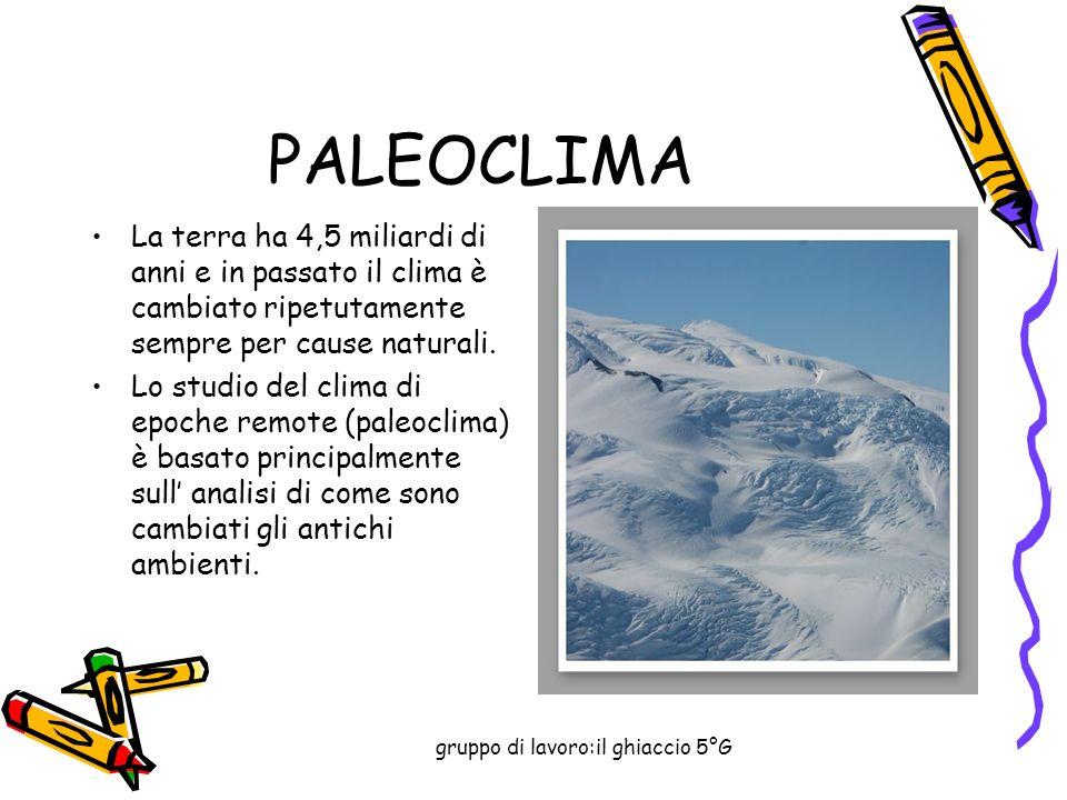 gruppo di lavoro:il ghiaccio 5°G PALEOCLIMA La terra ha 4,5 miliardi di anni e in passato il clima è cambiato ripetutamente sempre per cause naturali.