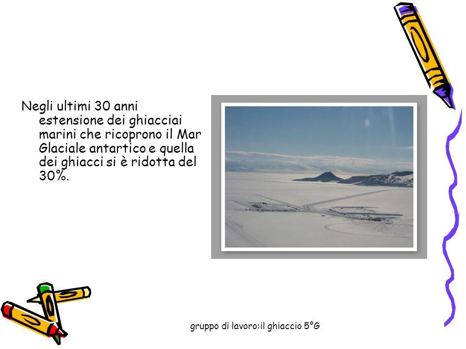 gruppo di lavoro:il ghiaccio 5°G Negli ultimi 30 anni estensione dei ghiacciai marini che ricoprono il Mar Glaciale antartico e quella dei ghiacci si è ridotta del 30%.