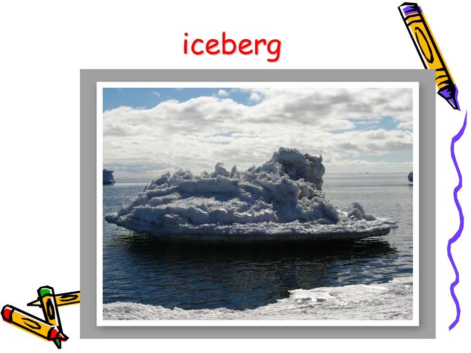 La parola iceberg deriva dalla parola inglese ice che significa ghiaccio e dalla parola tedesca berg che significa montagna.