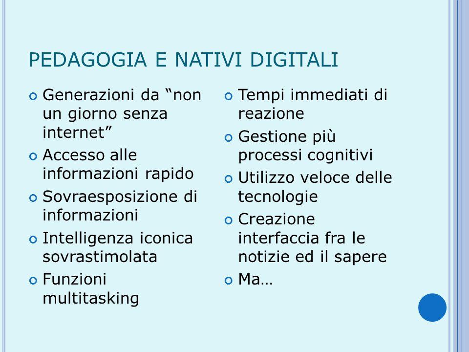PEDAGOGIA E NATIVI DIGITALI Generazioni da non un giorno senza internet Accesso alle informazioni rapido Sovraesposizione di informazioni Intelligenza