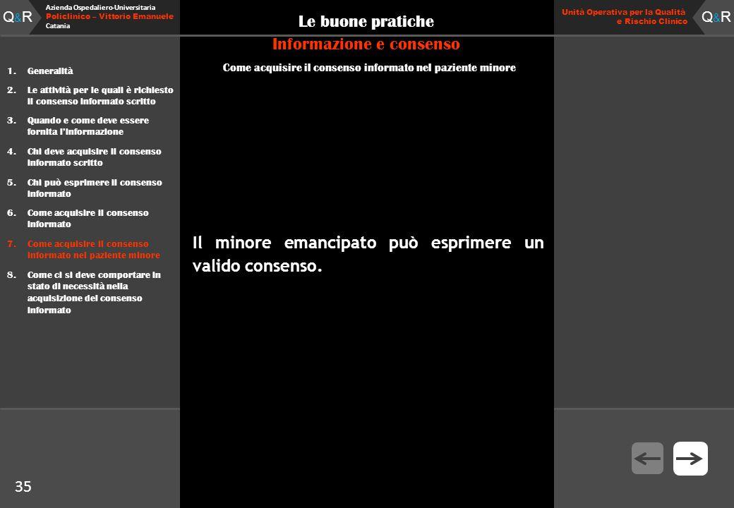 Q&RQ&R Azienda Ospedaliero-Universitaria Policlinico – Vittorio Emanuele Catania Q&RQ&R Unità Operativa per la Qualità e Rischio Clinico 35 Le buone p
