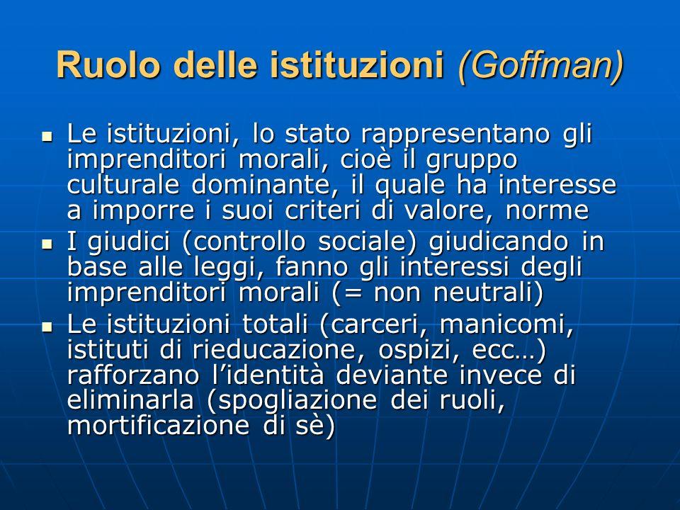 Ruolo delle istituzioni (Goffman) Le istituzioni, lo stato rappresentano gli imprenditori morali, cioè il gruppo culturale dominante, il quale ha inte